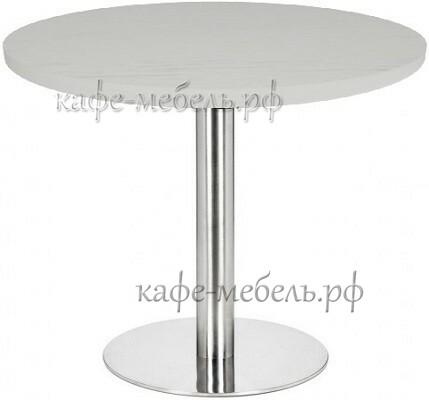 стол для кофейни круглы пластик HPL на подстолье из нержавеющей стали
