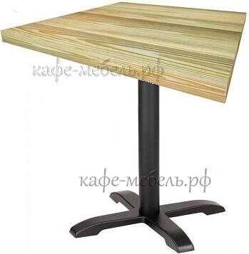 деревянный столик для кофеен на чугунном подстолье