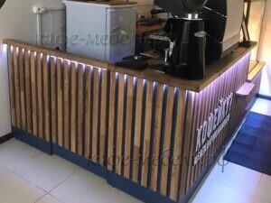 деревянная кофе стойка с подсветкой
