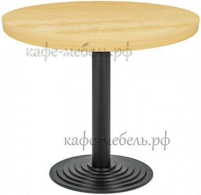 Деревянный столик для кофеен круглый на чугунном подстолье