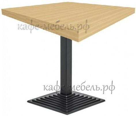 столик для кофейни деревянный на чугунном ступенчатом подстолье