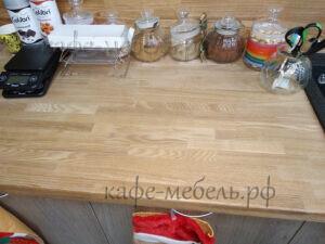 рабочая столешница кофе островка из массива дерева