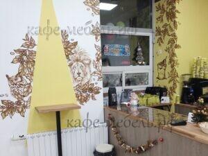 мебель в кофейне пристенный барный столик из дерева