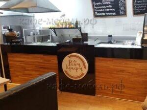 стойка для кафе издерева и пластика с логотипом световым