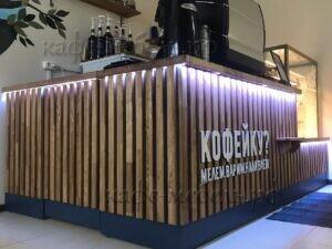 стойка кофе с собой массив ясеня с подсветкой