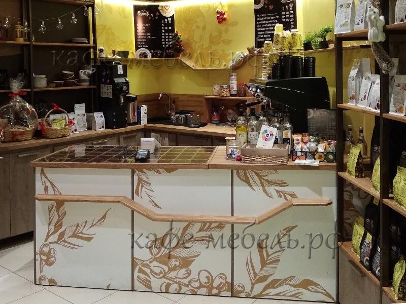 стойка кафе со столешницей-витриной из ясеня и стекла